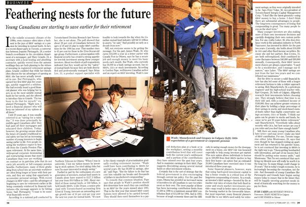 Article Preview: Feathering nests for the future, February 1995 | Maclean's
