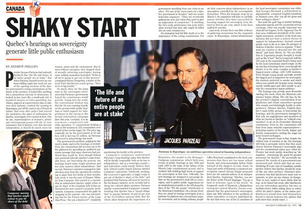 Article Preview: SHAKY START, February 1995 | Maclean's