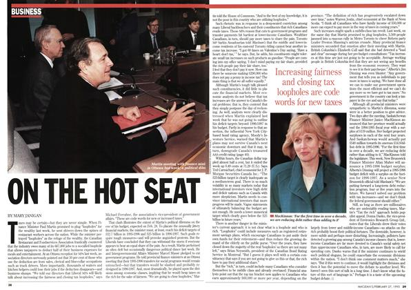 Article Preview: ON THE HOT SEAT, February 1995 | Maclean's