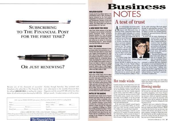 Article Preview: Business NOTES, February 1995 | Maclean's
