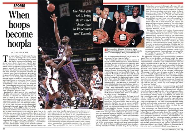 Article Preview: When hoops become hoopla, February 1995 | Maclean's