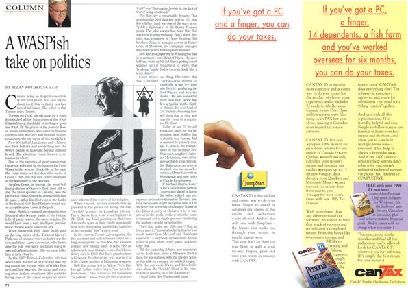Article Preview: A WASPish take on politics, February 1995 | Maclean's