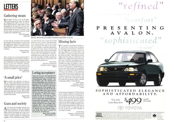 Article Preview: LETTERS, February 1995 | Maclean's