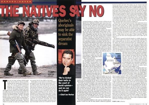 Article Preview: THE NATIVES SAY NO, February 1995 | Maclean's