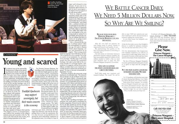Article Preview: Young and scared, March 1995 | Maclean's