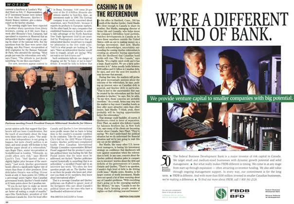 Article Preview: CASHING IN ON THE REFERENDUM, March 1995 | Maclean's