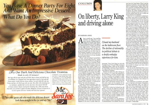 Article Preview: On liberty, Larry King and driving alone, March 1995 | Maclean's