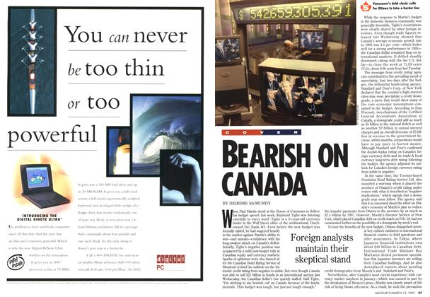 Article Preview: BEARISH ON CANADA, March 1995 | Maclean's