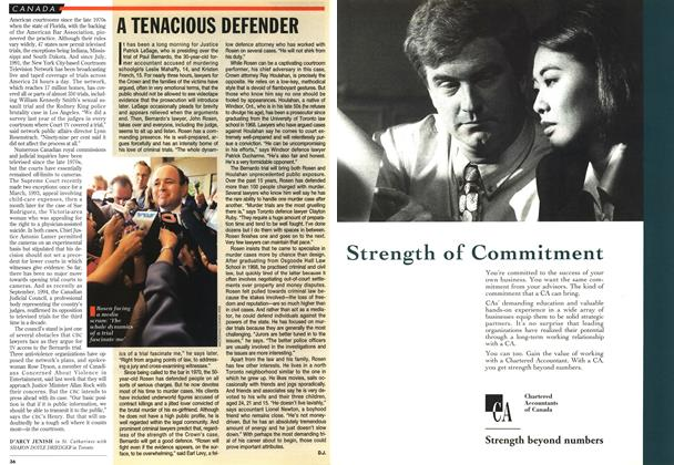 Article Preview: A TENACIOUS DEFENDER, March 1995 | Maclean's