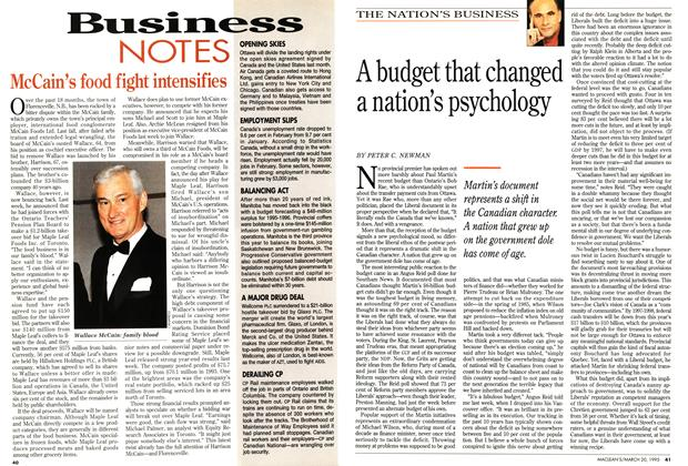 Article Preview: A budget that changed a nation's psychology, March 1995 | Maclean's