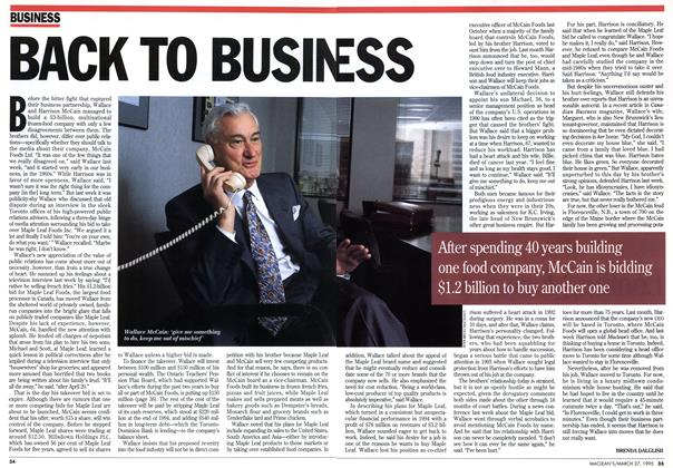Article Preview: BACK TO BUSINESS, March 1995 | Maclean's