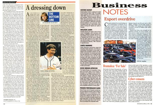 Article Preview: A dressing down, April 1995 | Maclean's