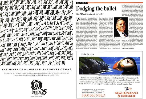 Article Preview: Dodging the bullet, April 1995 | Maclean's