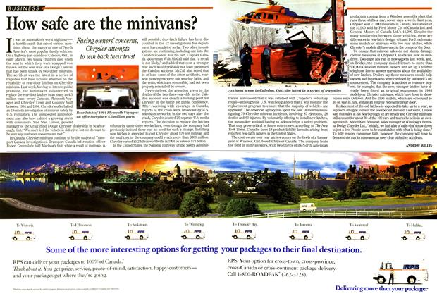 Article Preview: How safe are the minivans?, April 1995 | Maclean's