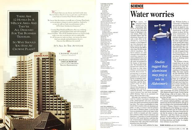 Article Preview: Water worries, April 1995 | Maclean's