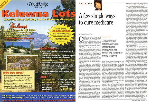 Article Preview: A few simple ways to cure medicare, April 1995 | Maclean's