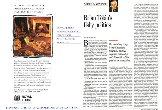 Article Preview: Brian Tobin's fishy politics, April 1995 | Maclean's