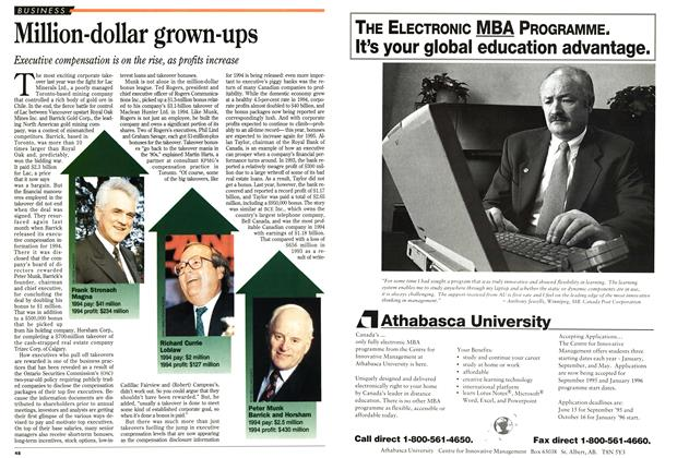 Article Preview: Million-dollar grown-ups, April 1995 | Maclean's