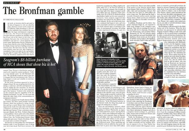 Article Preview: The Bronfman gamble, April 1995 | Maclean's