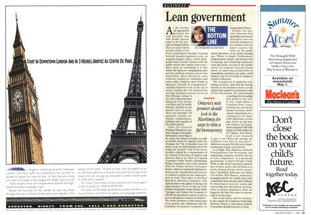 Article Preview: Lean government, May 1995 | Maclean's