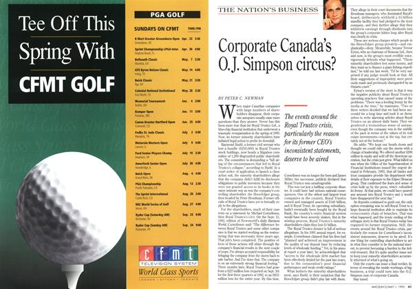Article Preview: Corporate Canada's O.J. Simpson circus?, May 1995 | Maclean's