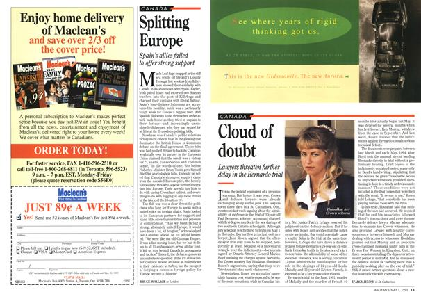 Article Preview: Cloud of doubt, May 1995 | Maclean's