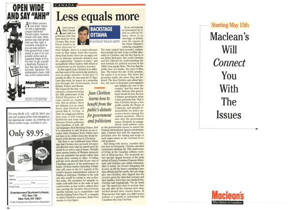 Article Preview: Less equals more, May 1995   Maclean's