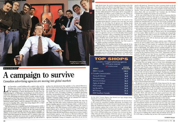 Article Preview: A campaign to survive, May 1995 | Maclean's
