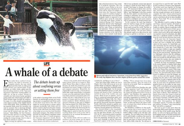 Article Preview: A whale of a debate, May 1995   Maclean's