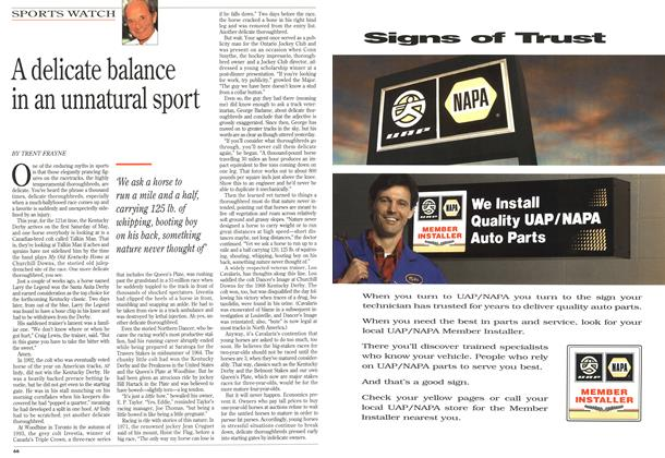 Article Preview: A delicate balance in an unnatural sport, May 1995 | Maclean's