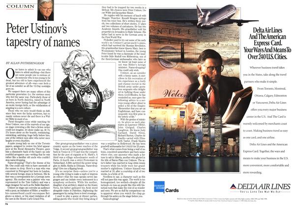 Article Preview: Peter Ustinov's tapestry of names, May 1995 | Maclean's