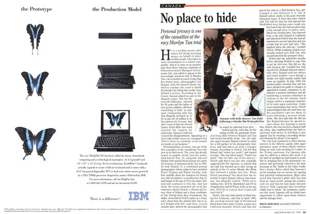Article Preview: No place to hide, May 1995 | Maclean's