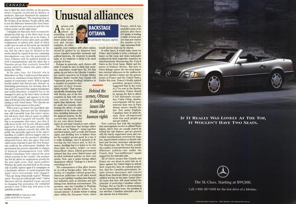 Article Preview: Unusual alliances, May 1995 | Maclean's