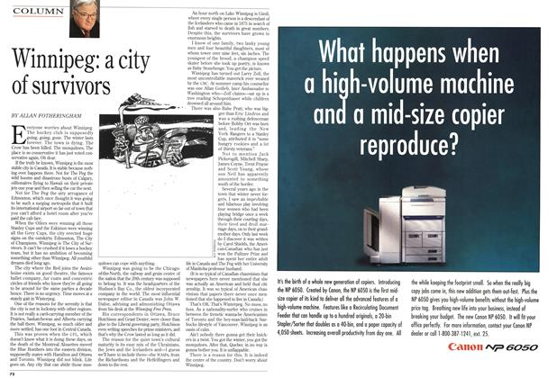 Article Preview: Winnipeg: a city of survivors, May 1995 | Maclean's
