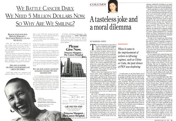 Article Preview: A tasteless joke and a moral dilemma, May 1995 | Maclean's