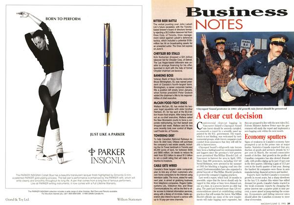 Article Preview: Business NOTES, June 1995 | Maclean's