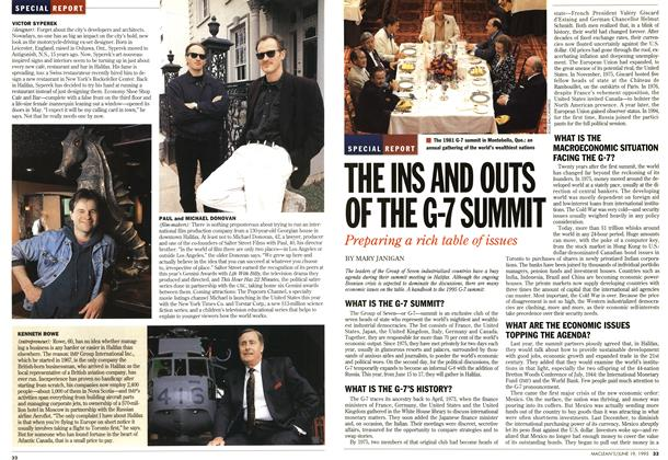 Article Preview: THE INS AND OUTS OF THE G-7 SUMMIT, June 1995 | Maclean's
