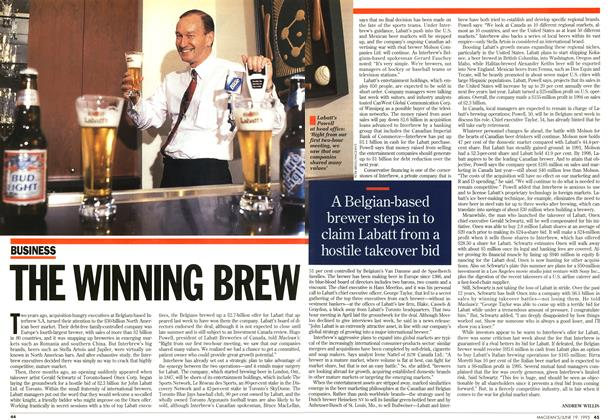 Article Preview: THE WINNING BREW, June 1995 | Maclean's