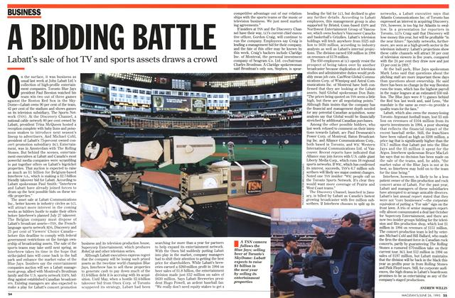 Article Preview: A BIDDING BATTLE, June 1995 | Maclean's