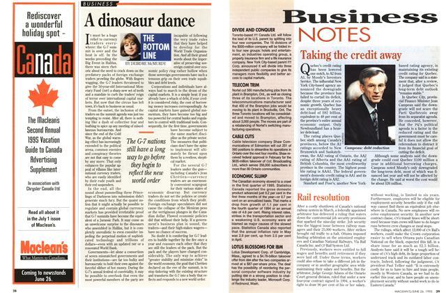 Article Preview: A dinosaur dance, June 1995 | Maclean's