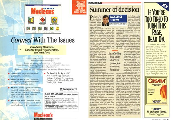 Article Preview: Summer of decision, July 1995 | Maclean's