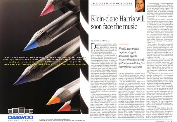 Article Preview: Klein-clone Harris will soon face the music, July 1995 | Maclean's