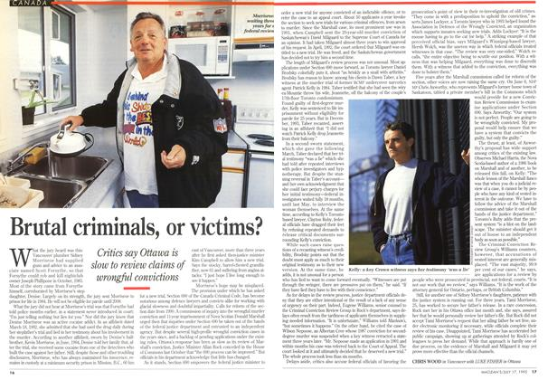 Article Preview: Brutal criminals, or victims?, July 1995 | Maclean's