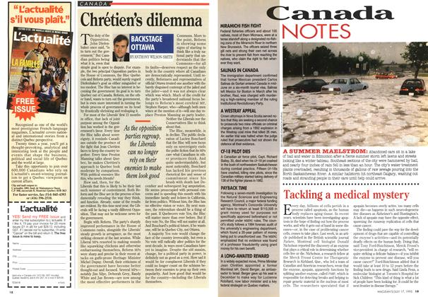 Article Preview: Chrétien's dilemma, July 1995 | Maclean's