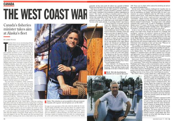 Article Preview: THE WEST COAST WAR, July 1995 | Maclean's