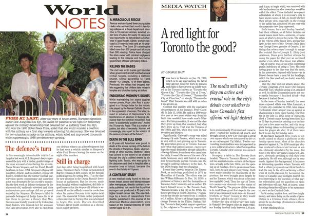 Article Preview: A red light for Toronto the good?, July 1995 | Maclean's