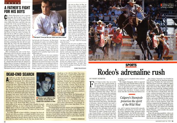 Article Preview: Rodeo's adrenaline rush, July 1995 | Maclean's