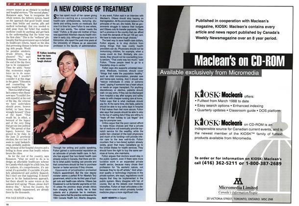 Article Preview: A NEW COURSE OF TREATMENT, July 1995 | Maclean's