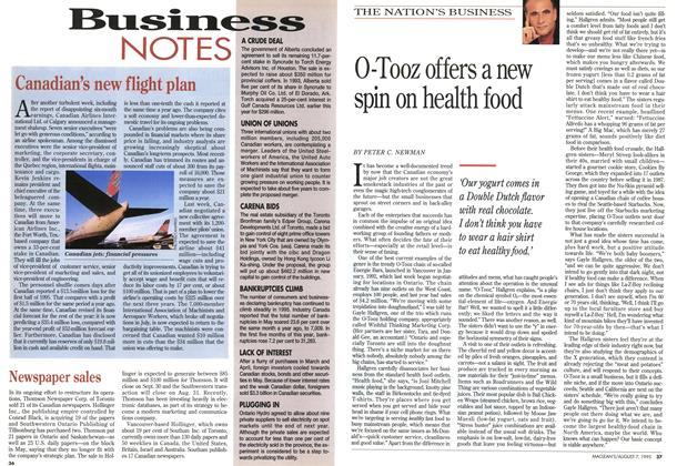 Article Preview: O-Tooz offers a new spin on health food, August 1995 | Maclean's