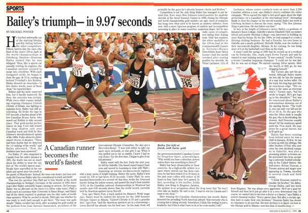 Article Preview: Bailey's triumph— in 9.97 seconds, August 1995 | Maclean's
